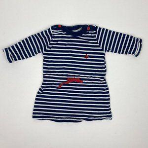 JoJo Maman Bebe Blue & White Striped Dress 12-18 M